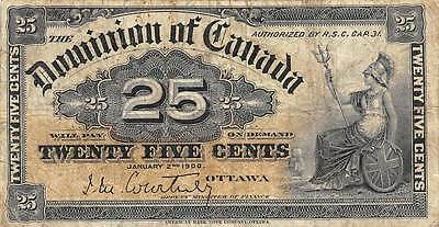 Canada 25 Cents 1.2.1900  P 9a circulated Banknote G. N1