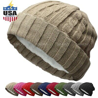 BN Knit Slouchy Baggy Beanie Winter Hat Ski Slouchy Cap Skull Men Women Cuff