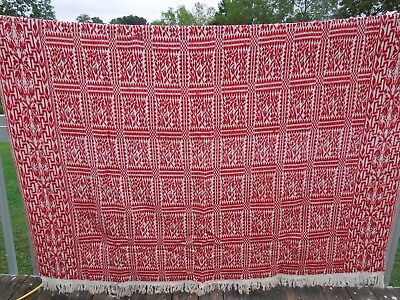 "Antique Full Queen 87"" x 75"" Red & White Overshot Coverlet Bedspread Wool/Cotton"