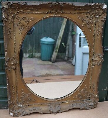 Large Fancy Very Old Mirror Frame With Cenral Oval Mirror Glass To Restore