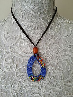 Ethnic tribal African Kenyan Masai jewelry leather strap bead pendant necklace