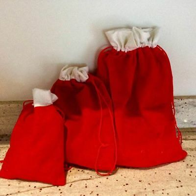Christmas Red White Felt Drawstring Gift Bag Tag Party Loot Bags 2 Sizes