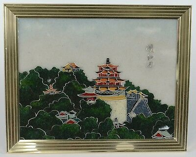 Japanese Castle Cloisonne Framed Plaque