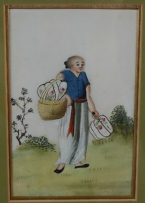 Fine Antique Chinese Rice Pith Paper Painting Woman with Bag of Fans