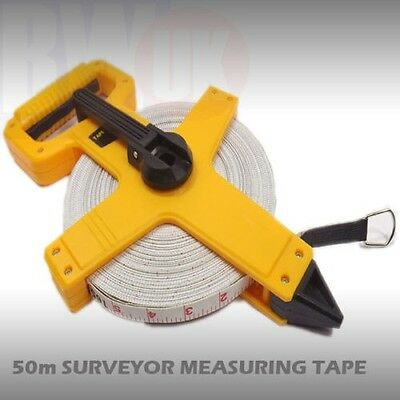Open Reel Fibreglass Measuring Tape Surveyors 50m Extra Long Reel 50 Meters TY9
