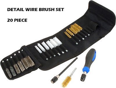 20 Piece Detail Wire Brush Set 9-19Mm Brass Nylon Steel Brushes Cleaning U313