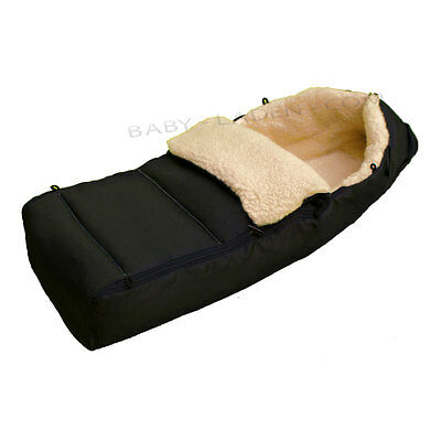 100%  lamb's-wool footmuff for baby excellent warm for stroller cosy --BLACK--