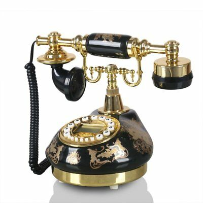 Ceramic Retro Antique Push Button Dial Desk Home Living Room Telephone Phone New