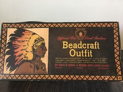 Vintage 1935 Official Boy Scout Indian, Beadcraft Outfit, Complete LOTS of Beads