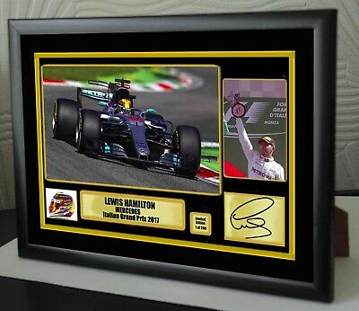 "Lewis Hamilton F1 Mercedes Italian  2017 Framed Canvas Print Signed ""Great Gift"""