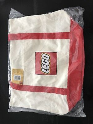 LEGO Exclusive Canvas Tote Bag White Red 5005326 Free Shipping Trusted US Seller
