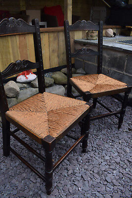 Pair of Vintage Dark Oak Rush Seat Chairs