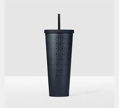 NEW STARBUCKS 2017 MATTE BLACK PATTERN cold cup 24 oz Venti