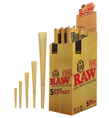 1 Raw Rawket 5 Stage 5 Cones Per Pack Pre Rolled Emperador, Supernatural & More