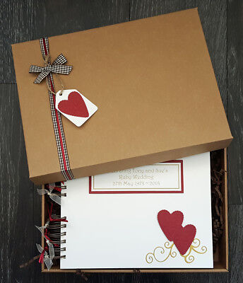 "40th anniversary guest book, ruby anniversary 10x8"" boxed personalised scrapbook"