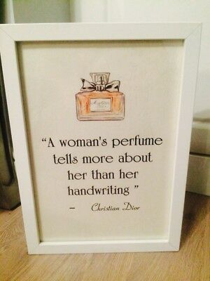 Miss Dior Cherie Perfume Bottle Quote Print Poster Picture Framed Gift A4 Home