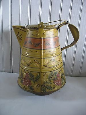 """Early Toleware Tole Painted Tin & Copper Coffee Pot / kettle 10"""" tall Wood stove"""