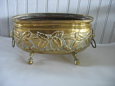 Vintage Brass Footed Planter Pot Vase With  Lion head Handles embossed Cherries