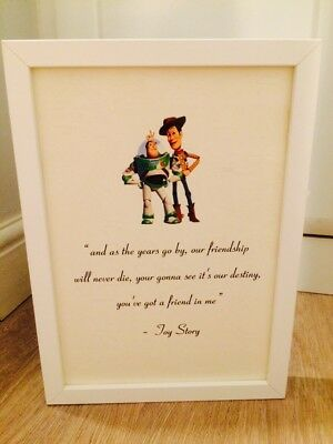 Disney Toy Story Buzz & Woody Quote A4 Print Art Framed Gift Home Christening