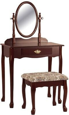 Vanity and Stool Set Wood Construction w/ Drawer Brass Accents Oval Mirror