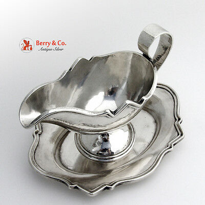 Hand Made Gravy Boat and Plate Sterling Shreve San Francisco 1910