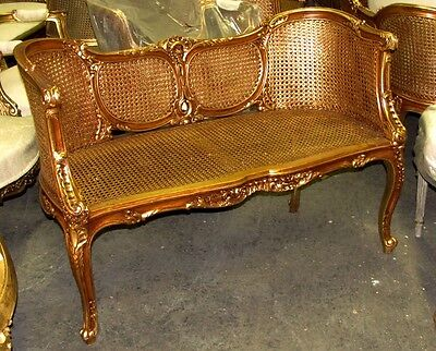 Ornate French Louis XV Caned Cane Corbeille Settee Canapé