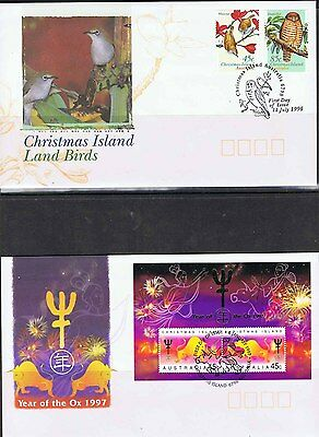 Christmas Island 1996 & 97 Land Birds & Year Of The Ox Fdc's