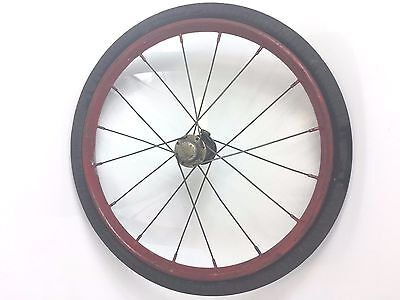 "VTG Solid Rubber 16"" Metal Spokes Wheel Buggy Cart Bicycle Wagon Steampunk"