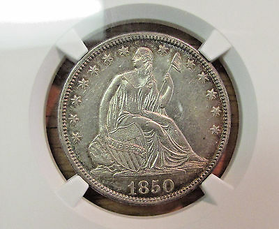 1850 Seated Liberty  Hlaf Dollar NGC AU 55
