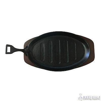 12x Steak Sizzle Plate Wood Base 290x185mm Cast Iron Sizzling Skillet Grill NEW