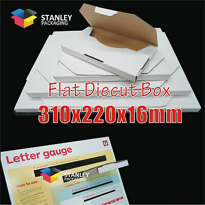 Flat Mailing Diecut Box Mailer Rigid Envelope Letter 310x220x16mm Shipping Boxes