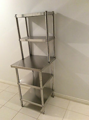 New Stainless Steel Bench with Over-shelving 900 x 600 x 900 x 300 x 780 mm