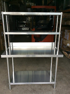 New Stainless Steel Bench with Splash back and Over-shelving 150x60x90x30x78 cm