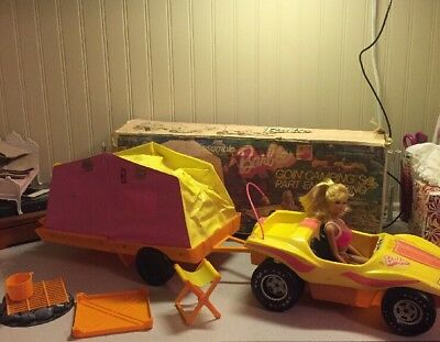 vintage barbie camper and dune buggy with Orig Box And Barbie Included