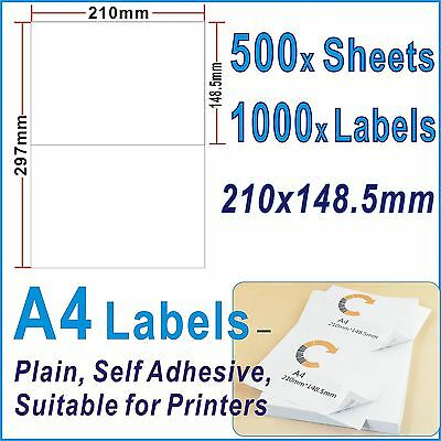 500 x Sheets 1000 Labels 210x148.5mm A4 Office Mailing label 2Labels/Page