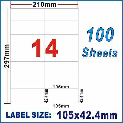 100 Sheet 10.5x4.24cm 14Labels Per Page A4 Office Mailing Address Label Inkjet