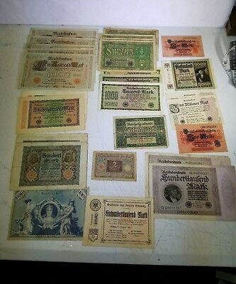 Vintage Lot of 28 1900s Germany Old Banknotes Vintage Paper Money Europe e2b