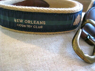 Vintage New Orleans Country Club Belt Green Blue Preppy Canvas Leather Mens 36
