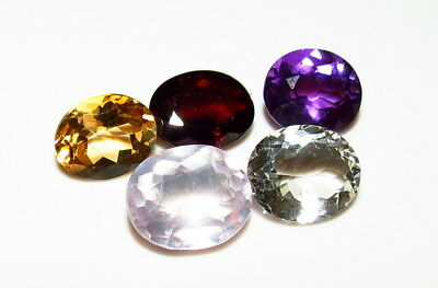 6pc - 17ct FACETED GEMSTONE SET -  GARNET ROSE QUARTZ CITRINE AMETHYST