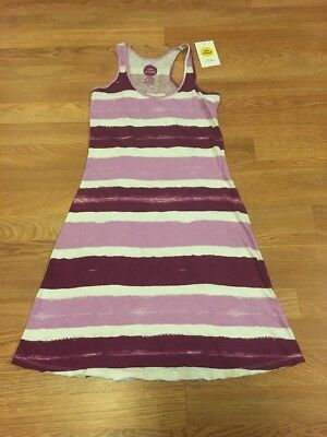 Life Is Good Nwt Women'S Racerback Dress Watercolor Stripes Plum Small $58 Value