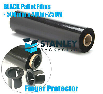 4 Rolls 500mm x 450M 25um Black Stretch Film Pallet Wrap Wrapping Cast Shrink