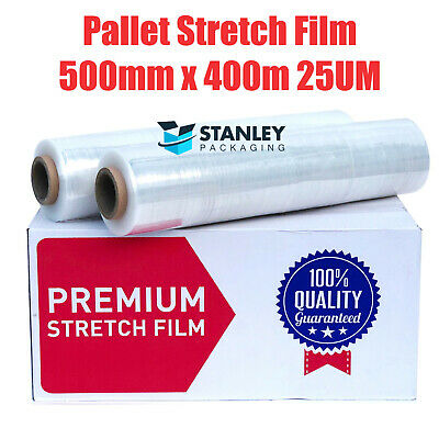 2 Rolls 500mm x 450m Clear Hand Stretch Film Pallet Shrink Wrap Wrapping