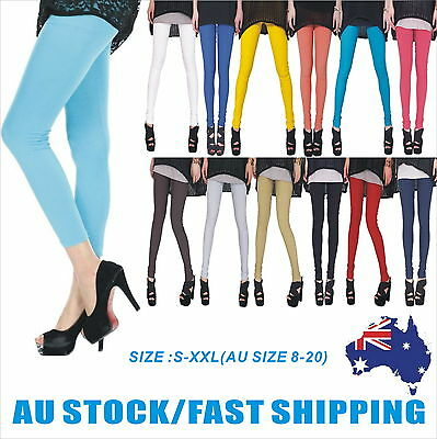 Women Full Length Soft Strentch Leggings  S-XXL Au Size 8-20 Black/White/Red