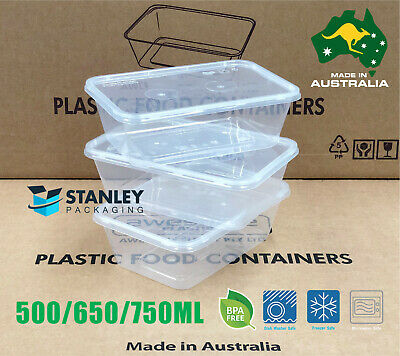 100pcs Food Container Plastic DISPOSABLE Takeaway Take Away Box 500/750/1000ml
