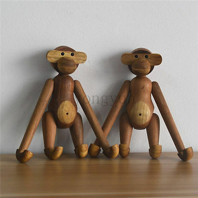 High Quality Denmark Design Animals Doll Teak Monkey Doll Wood Monkey