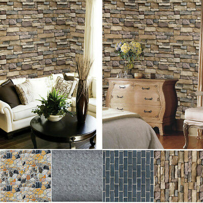 Natural Simplicity 3D Brick Stone Wallpaper Roll Textured Art Wall Paper Decor
