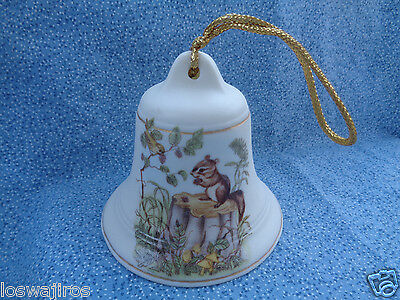 Christmas Ornament Collectable Ceramic Bell Cream w/ Squirrel on Trunk Decal 3""