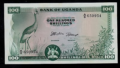 Uganda 100  Shillings ( 1966 ) A/8 Pick # 5 Unc Less.