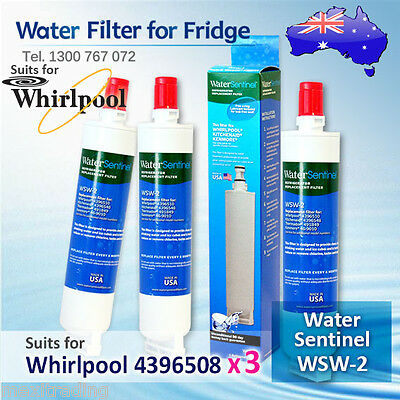 3X Water Sentinel WSW-2 Replacement Fridge Filter for Whirlpool 4396508