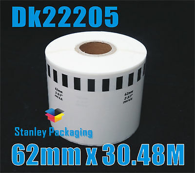 Compatible White BROTHER DK-22205 White Label 62mm X 30.48m DK22205LB